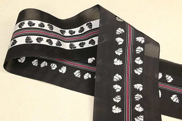 西村織物 悦 博多織 正絹半幅帯 紗 かがり仕立付 帯 パンダ 絹100% 黒