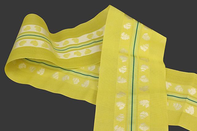 西村織物 悦 博多織 正絹半幅帯 紗 かがり仕立付 帯 パンダ 絹100% 黄