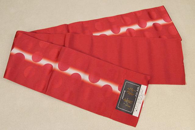本場筑前博多織 清粋 正絹半幅帯 水玉 かがり仕立付 赤×白