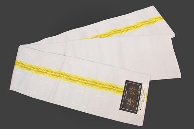 本場筑前博多織 清粋 正絹半幅帯 麻の葉 薄グレー×黄