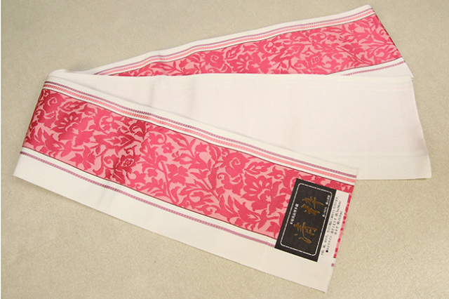 本場筑前博多織 清粋 正絹半幅帯 唐草紋 アイボリー×赤