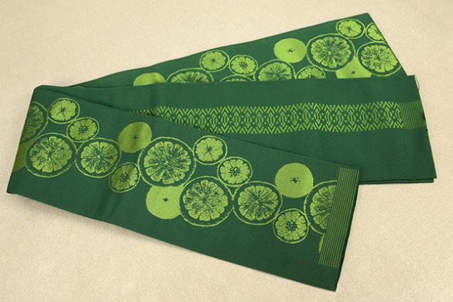 西村織物 結 博多織 正絹半幅帯 かがり仕立付 シトラス 絹100% 緑
