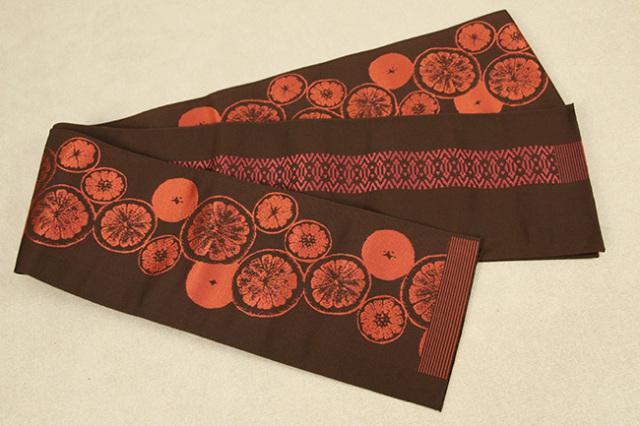 西村織物 結 博多織 正絹半幅帯 シトラス 絹100% 赤茶