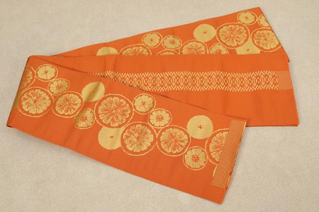 西村織物 結 博多織 正絹半幅帯 かがり仕立付 シトラス 絹100% 橙