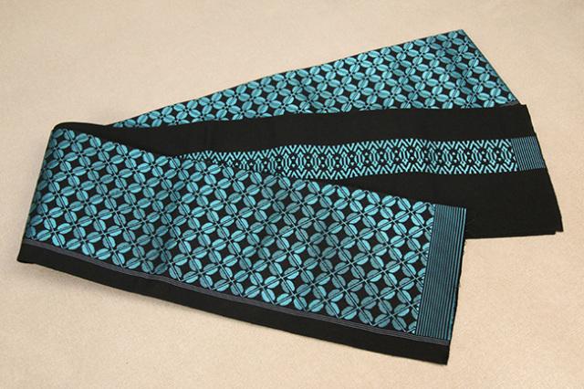 西村織物 結 博多織 正絹半幅帯 かがり仕立付 ビーンズ 絹100% 青緑