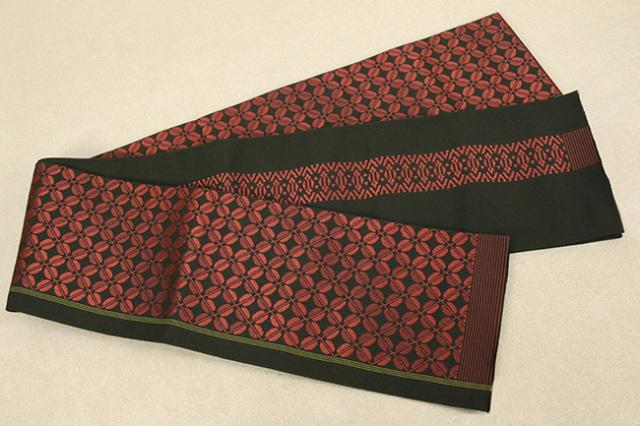 西村織物 結 博多織 正絹半幅帯 かがり仕立付 ビーンズ 絹100% 赤