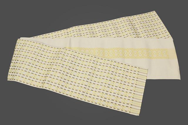 西村織物 結 博多織 正絹半幅帯 モダン幾何学 絹100% 黄