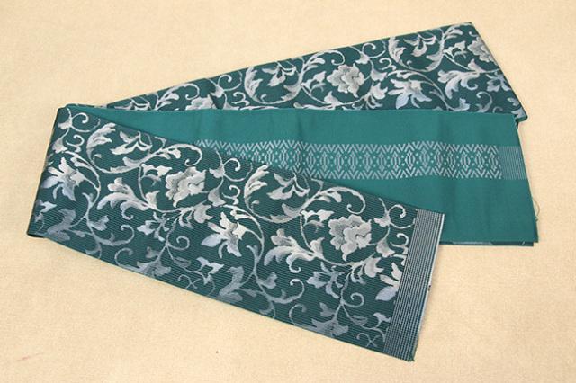 西村織物 結 博多織 正絹半幅帯 かがり仕立付 唐草ぼかし 絹100% 青緑