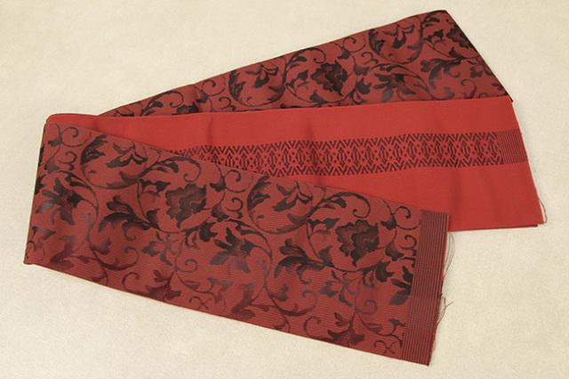 西村織物 結 博多織 正絹半幅帯 かがり仕立付 唐草ぼかし 絹100% 赤