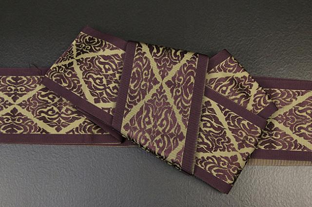 本場筑前博多織 男帯 正絹 かがり仕立付 菱形 紫