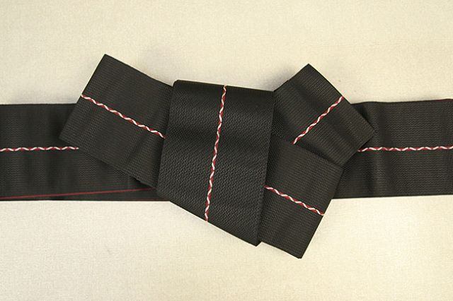 博多織 西村織物 角帯 正絹 八ノ字縞 黒