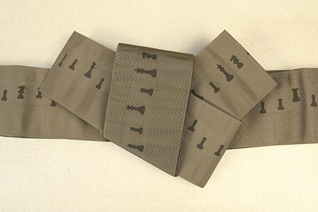 博多織 西村織物 角帯 正絹 片風通 チェス 茶×こげ茶