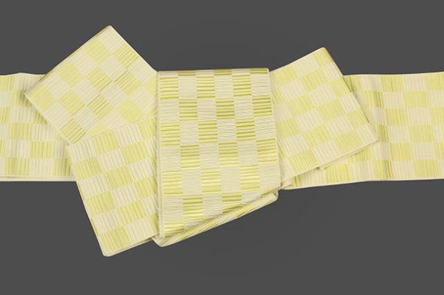 本場筑前博多織 正絹 角帯 市松 黄
