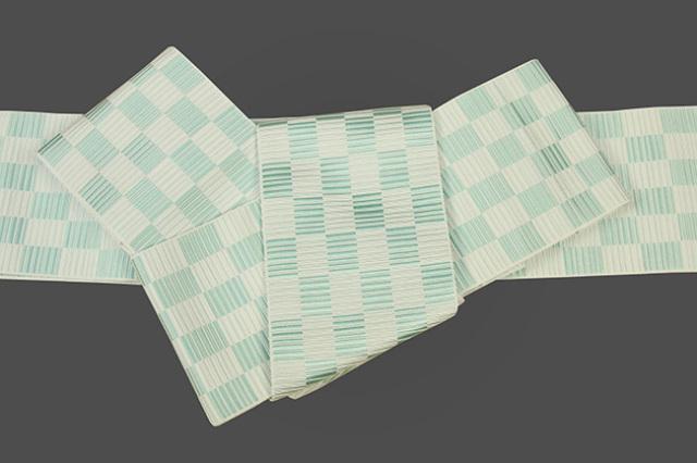 本場筑前博多織 正絹 角帯 市松 青緑
