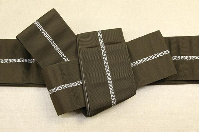 博多織 西村織物 角帯 正絹 鎖 カーキ