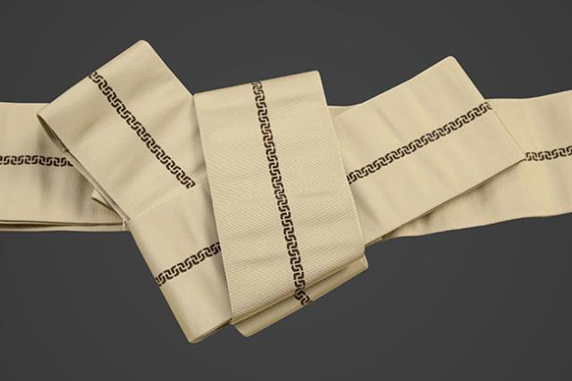 博多織 西村織物 角帯 正絹 鎖 ベージュ
