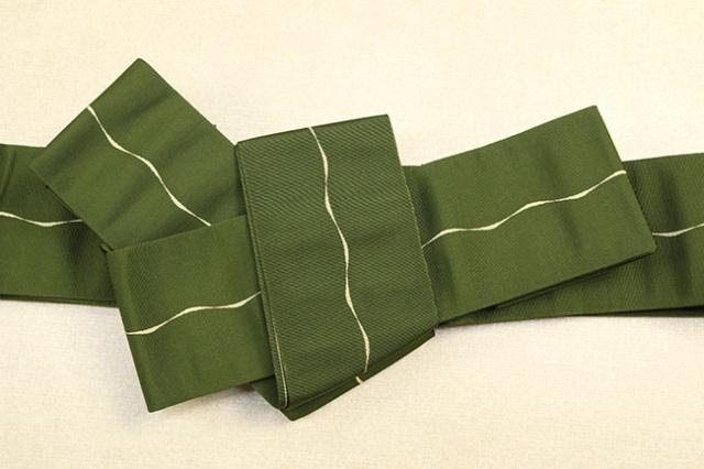 博多織 西村織物 角帯 正絹 波線 深緑