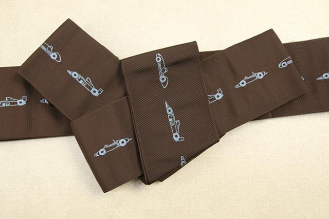 博多織 西村織物 角帯 正絹 レーシングカー 茶