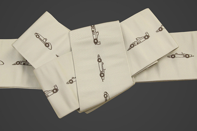 博多織 西村織物 角帯 正絹 レーシングカー ベージュ