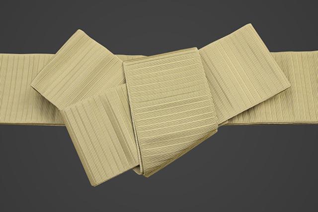 博多織 西村織物 角帯 正絹 悦 細縞 黄