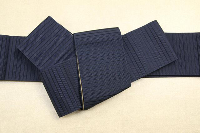 博多織 西村織物 角帯 正絹 悦 細縞 紺