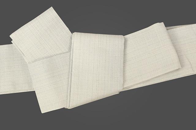 博多織 西村織物 角帯 麻 からむし織 薄青灰