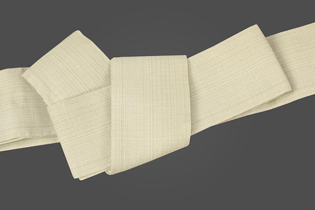 博多織 西村織物 角帯 麻 からむし織 薄黄