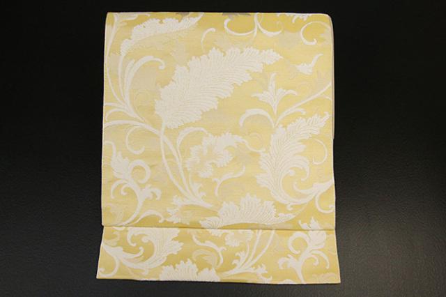 西村織物 博多織 八寸名古屋帯 リーフ お仕立て付き 黄