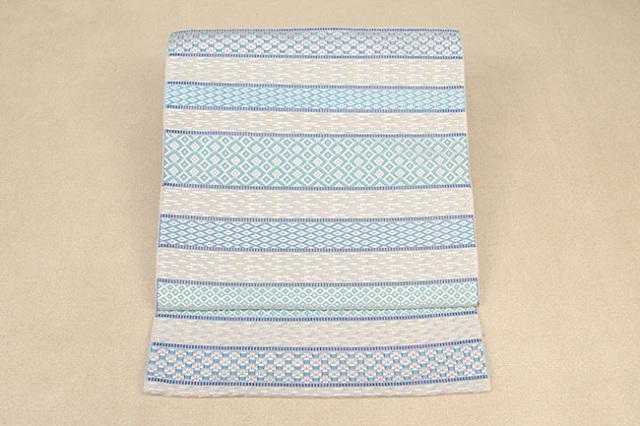 西村織物 博多織 サマルカンド ミナレット 紋八寸名古屋帯 正絹 水色 お仕立て付き