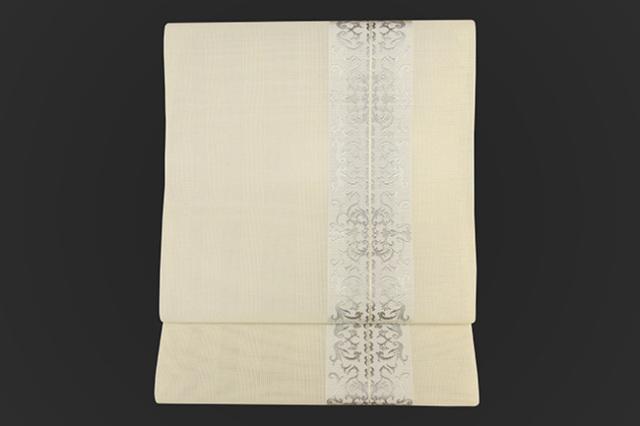 西村織物 博多織 八寸名古屋帯 正絹 オーナメント 白 お仕立て付き