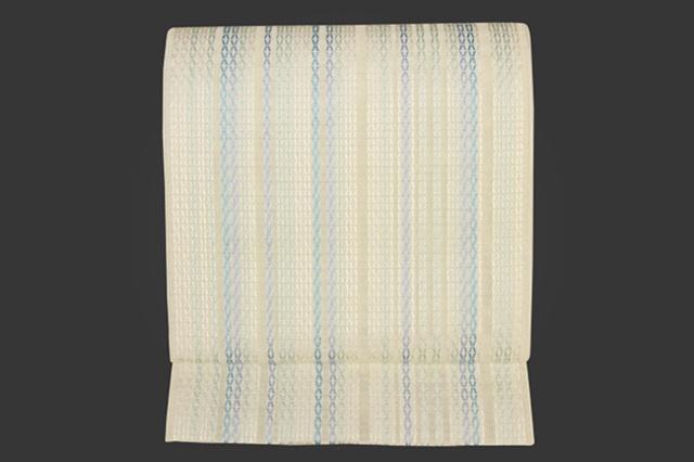 西村織物 博多織 八寸名古屋帯 正絹 お仕立て付き 白×青×緑 縦ストライプ