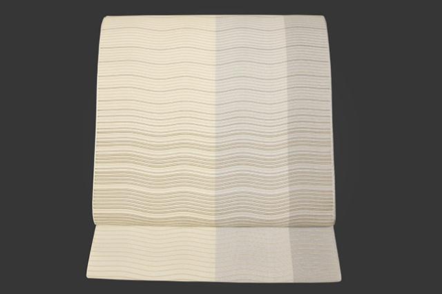 西村織物 博多織 八寸名古屋帯 正絹 紗 グレー 3色ストライプ 仕立付き