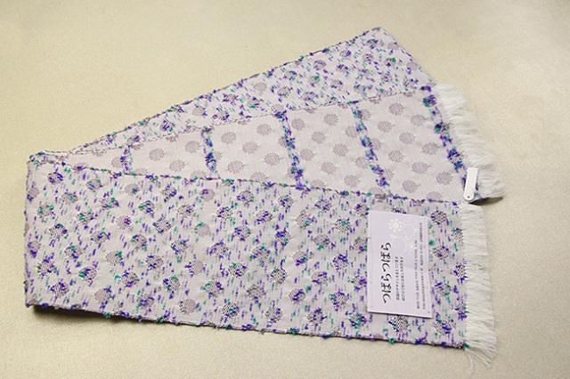 米沢織 近賢織物 半幅帯 つばらつばら ストライプ 白×紫