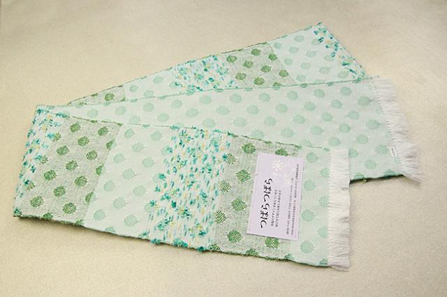 米沢織 近賢織物 半幅帯 つばらつばら ストライプ 白×緑
