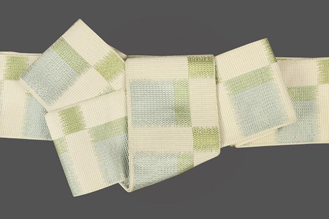 米沢織 近賢織物 角帯 東雲 ベージュ×黄緑