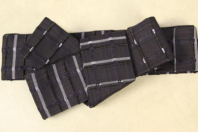 米沢織 近賢織物 角帯 紙格子角帯 黒×紫