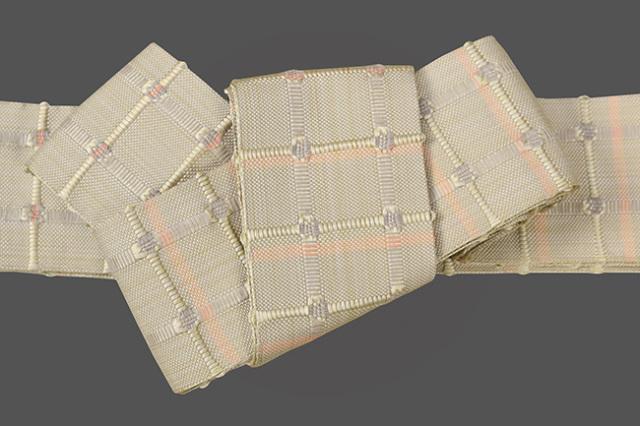 米沢織 近賢織物 角帯 紙格子角帯 薄藤色×薄ピンク