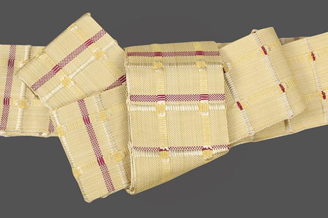 米沢織 近賢織物 角帯 紙格子角帯 黄×赤紫