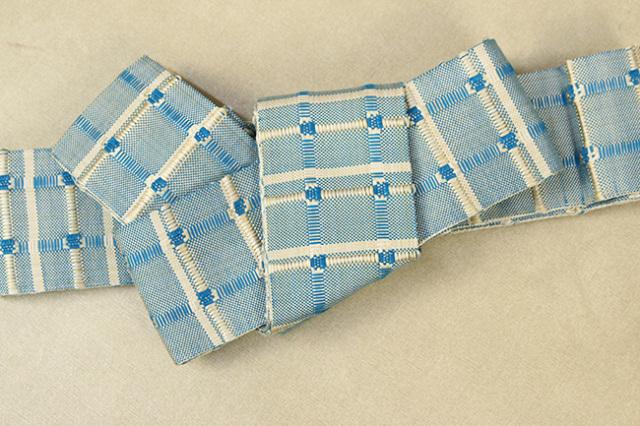 米沢織 近賢織物 角帯 紙格子角帯 水色×白