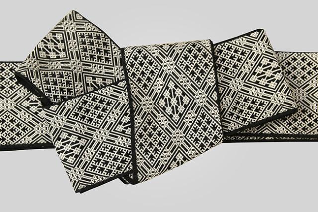 近賢織物 角帯 こぎん柄 ジャガード織 ひし形 リバーシブル 黒×白