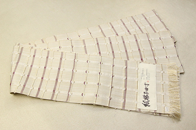 米沢織 近賢織物 半幅帯 紙格子四寸 生成り色×えんじ