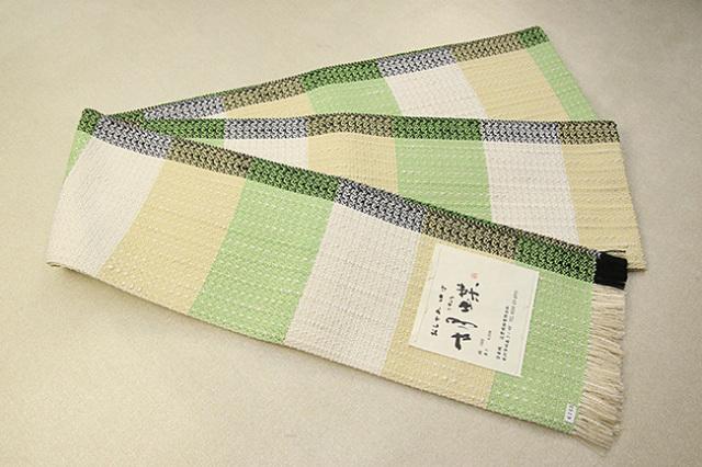 近賢織物 宝来織 胡蝶 半幅帯 正絹 白×黄緑