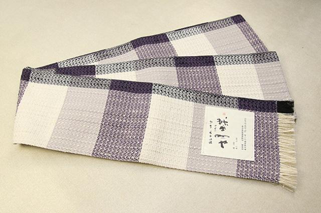 近賢織物 宝来織 胡蝶 半幅帯 正絹 白×紫