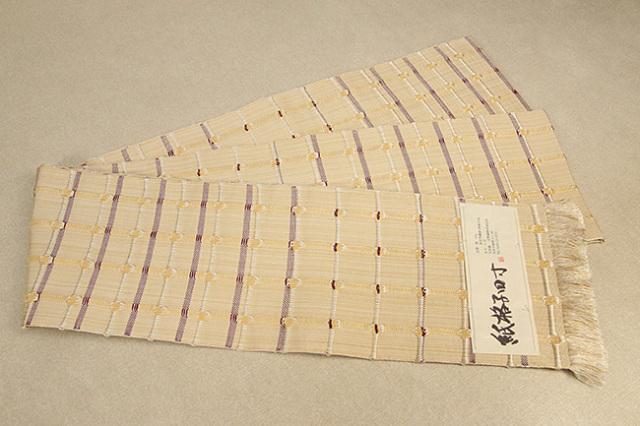 米沢織 近賢織物 半幅帯 紙格子四寸 薄黄×えんじ