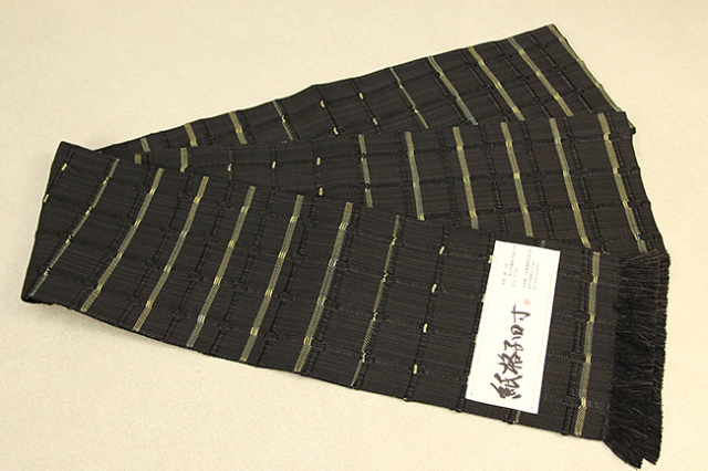 米沢織 近賢織物 半幅帯 紙格子四寸 黒×黄