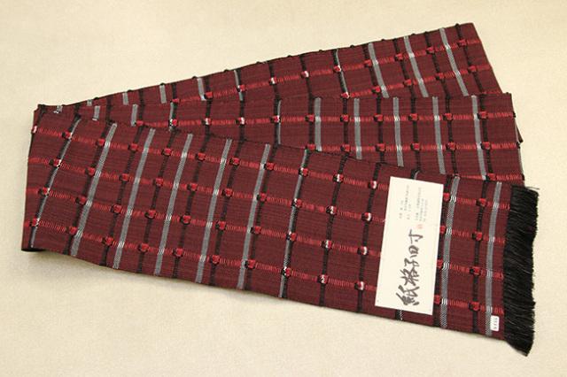 米沢織 近賢織物 半幅帯 紙格子四寸 黒×赤
