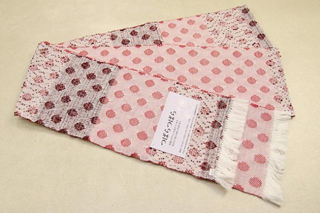 米沢織 近賢織物 半幅帯 つばらつばら 水玉 赤×白