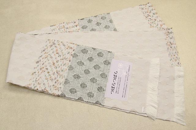 米沢織 近賢織物 半幅帯 つばらつばら 水玉 白×緑