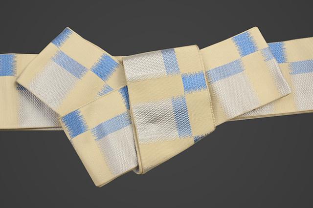 米沢織 近賢織物 角帯 東雲 ベージュ×水色