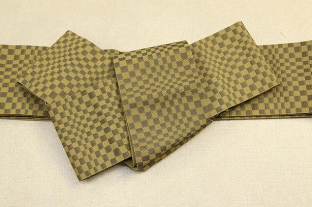 米沢織 近賢織物 角帯 遊粋 変わり市松 黄土